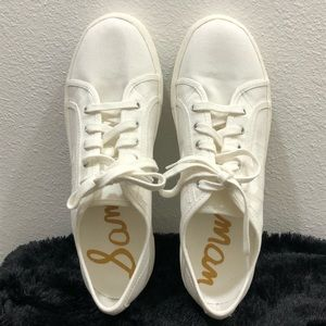 SAM EDELMAN - WHITE LACE UP CANVAS SNEAKERS
